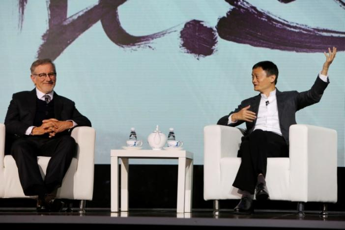 Steven Spielberg (L), film director and Chairman of Amblin Partners and Jack Ma, Chairman and chief executive of Alibaba Group attend an event to announce partnership between Alibaba Pictures Group Limited and Amblin Partners, in Beijing, China, October 9, 2016.